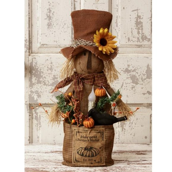 Sunflower Scarecrow with Crow Lighted Primitive Sa